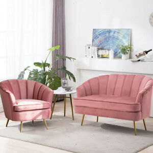 Enjoyable Details About Pink Velvet Fabric 1 2 Seater Sofa Set Wing Shell Armchair Tub Couch Sofa Chair Onthecornerstone Fun Painted Chair Ideas Images Onthecornerstoneorg