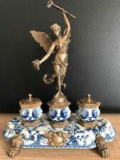 Bronzefigur Porzellan Schreibtisch Garnitur Antik Stil Wong Lee 1895 Mod. 2