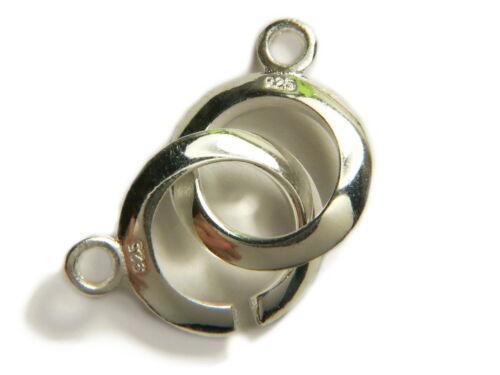 12x2mm. Verschluss Ring in Ring 925er Sterling Silber Ringverschluss