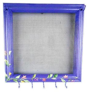 10 x 10 Handmade Purple Hanging Wood Frame Jewelry Organizer One