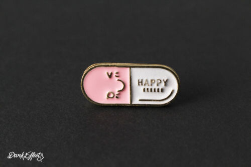 CUTE TINY HAPPY PILL PINK /& WHITE PIN BADGE ENAMEL METAL PILLS