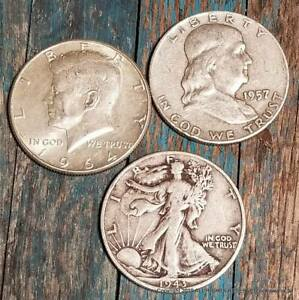 U-S-90-Silver-3-Coin-Half-Dollar-Lot-Walking-Liberty-Franklin-and-Kennedy
