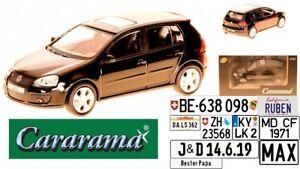 Cararama-VW-Golf-V-GTI-Schwarz-5-Tuerer-2003-2008-1-43-m-o-Wunschkennzeichen