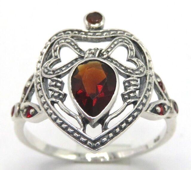 Ring  Granat & Rubin  925  Sterling Silber  Antik Style   Größe 57