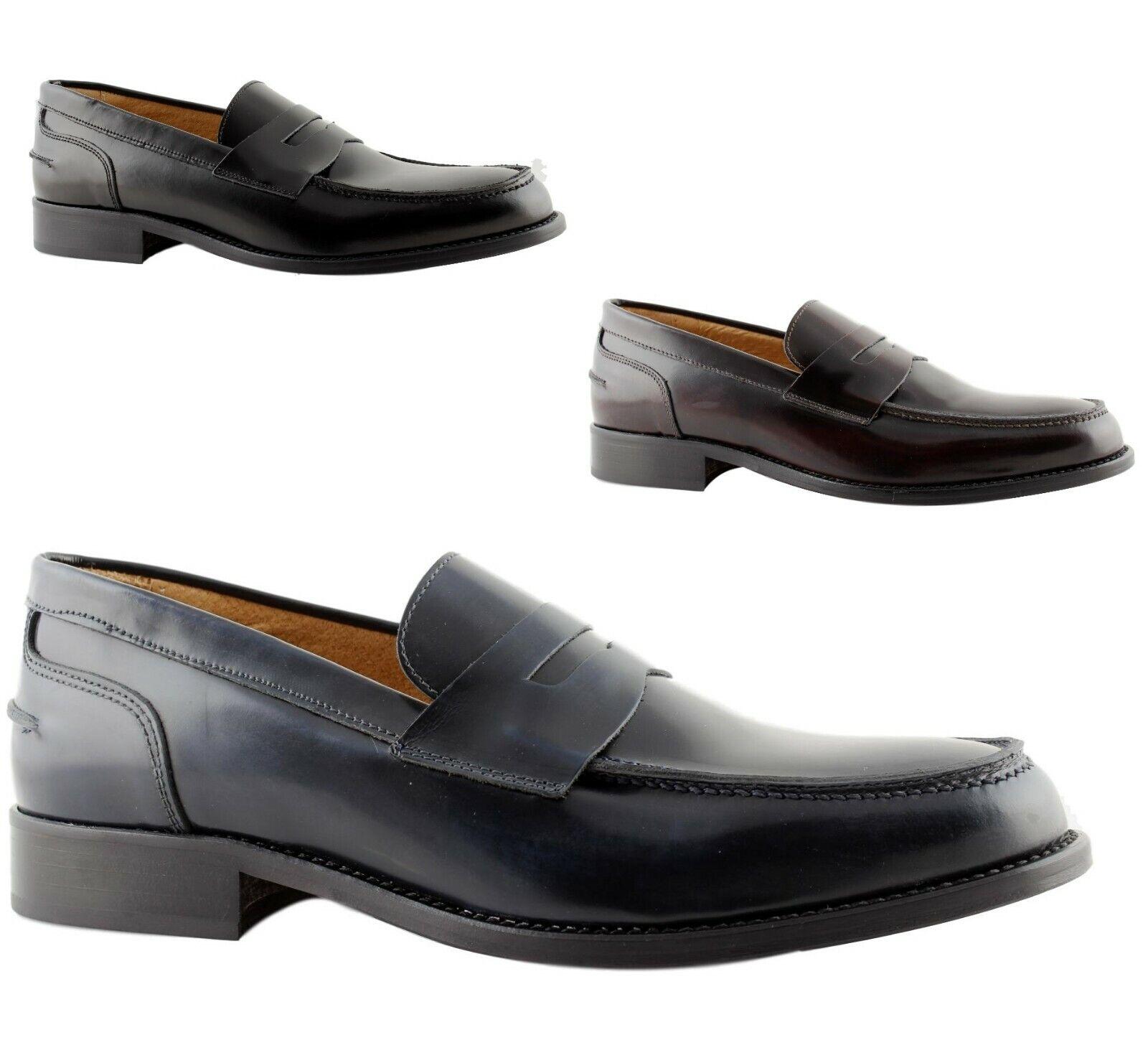 Mocassini men Eleganti College Pelle blue black bordò cuoio shoes Made  110