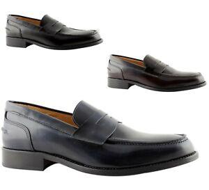 Mocassini-Uomo-Eleganti-College-Pelle-blu-nero-bordo-cuoio-scarpe-Made-Italy-110