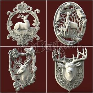 4-3D-STL-Models-Hunting-Deer-pack-for-CNC-Router-Carving-Machine-Artcam-aspire