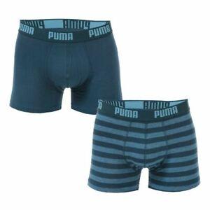 Homme-Puma-A-Rayures-2-Pack-En-Coton-Extensible-Boxer-Shorts-En-Bleu