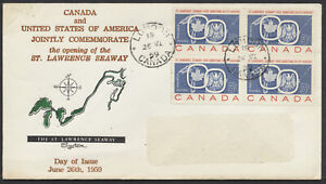 1959-387-St-Lawrence-Seaway-FDC-Block-Grover-Cachet-London-Ont