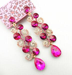 Betsey-Johnson-Fuchsia-Crystal-Rhinestone-Leaf-Drop-Dangle-Earrings