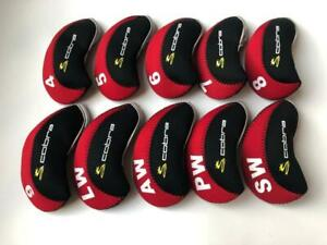 10PCS-Golf-Club-Headcovers-for-Cobra-Iron-Head-Covers-4-LW-Red-amp-Black-Protector