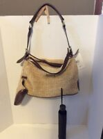 Rosetti Beige Weaved Handbag With Cosmetic Bag /umbrella Purse