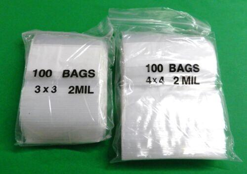 "200 WHITE BLOCK ZIPLOCK BAGS SQUARE 2Mil PLASTIC 100 of each 3/""x3/"" /& 4/""x4/"" SIZE"