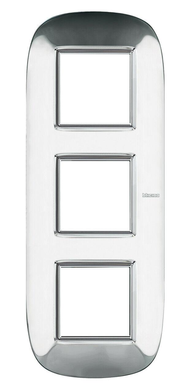 BTICINO Axolute HB4802 3ACL Rahmen 3-fach Stahl Glänzend Placa 2x3 Modulos | Einfach zu spielen, freies Leben