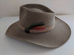 0730e454c Details about Akubra Australia Cowboy Hat Tan Pure Fur Felt Snowy River  Outback Trading Co 54*