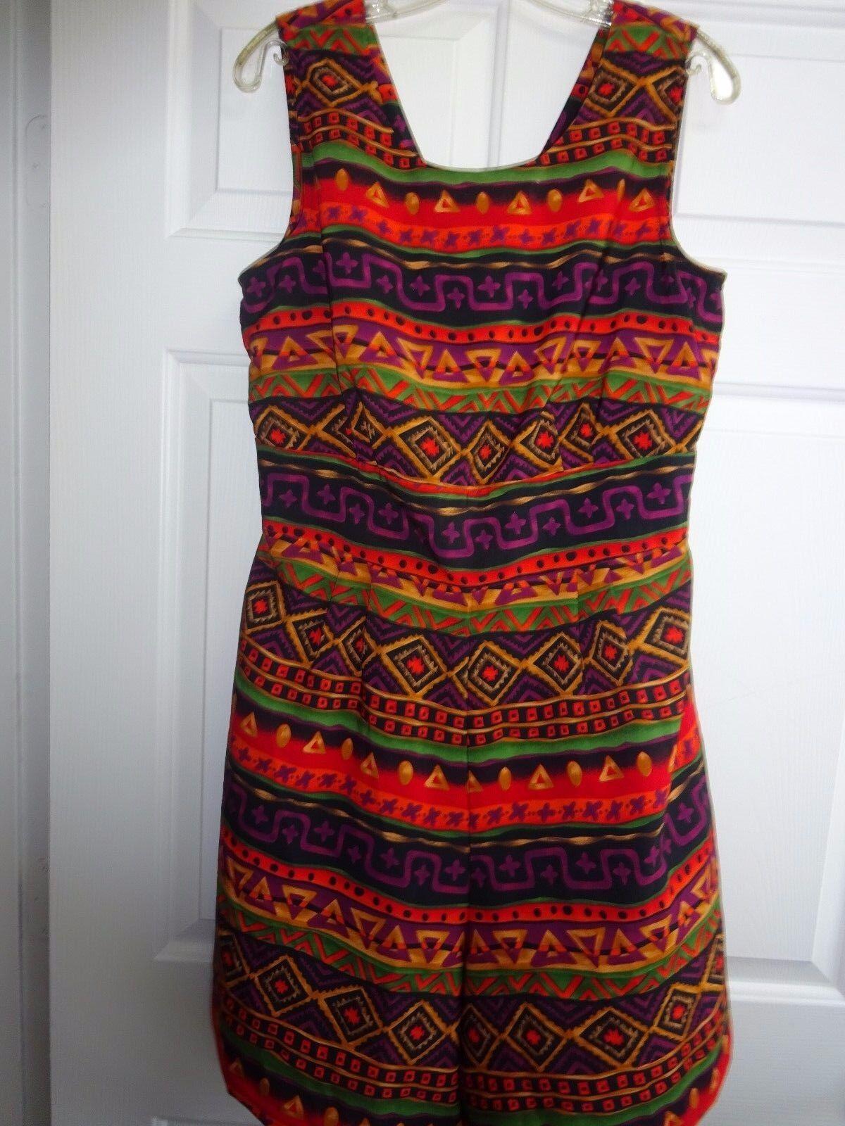 KATHIE LEE Collection Multi color Coulette Dress Jumper SIze Medium Polyester