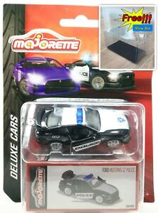 Majorette-Ford-Mustang-GT-002-Police-Black-Deluxe-Car-1-64-204D-Free-Display-Box