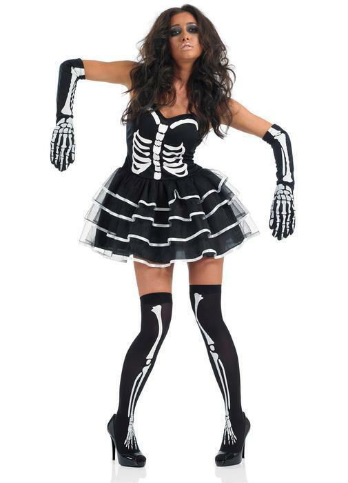 Ladies Black White Skeleton Tutu Dress Halloween Horror Fancy Dress Size 12-14