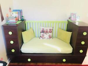 Details about Kids Bedroom Set toddler bed CONVERTIBLE twin full size Baby  crib Wardrobe couch