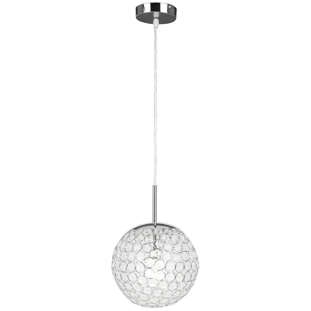 Globo Konda 1 Light Globe Pendant Lamp, Chrome Acrylic Crystals