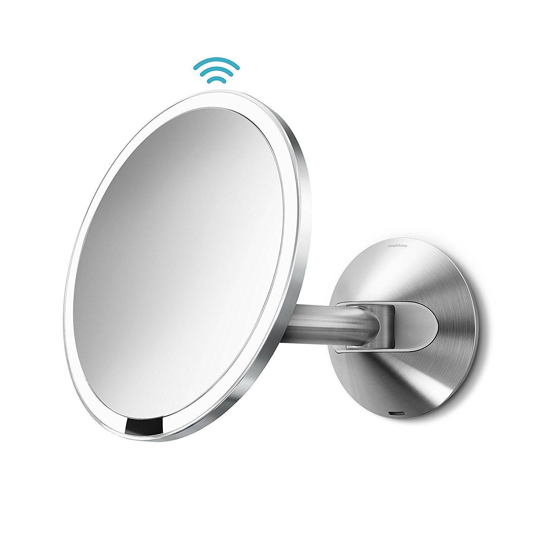 Simplehuman LED LED LED Sensorspiegel Kosmetikspiegel Edelstahl poliert 20cm Wandspiegel ee2949