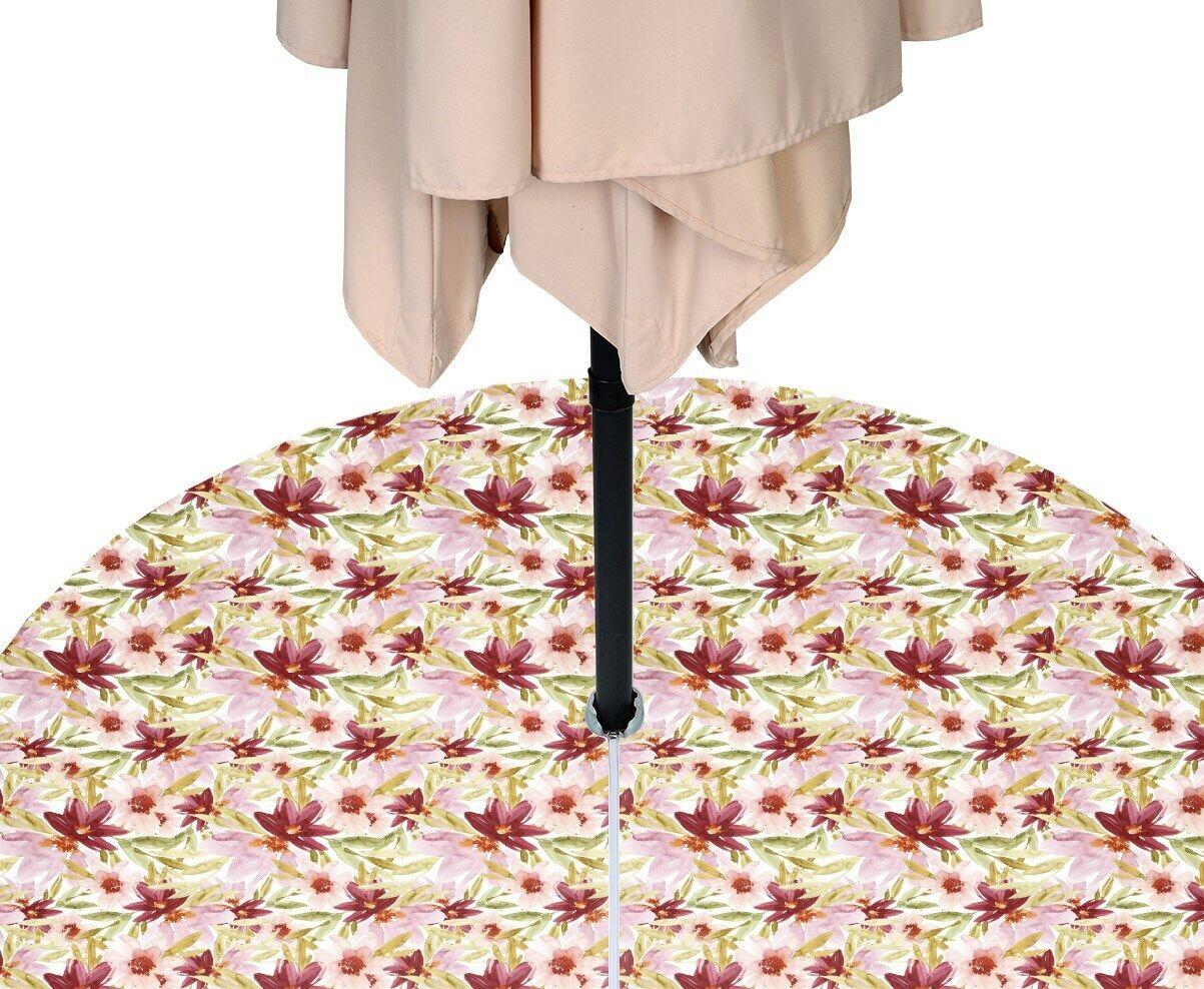 Water Farbe Florals Water Repellent Tablecloths w  Zipper & Umbrella Hole
