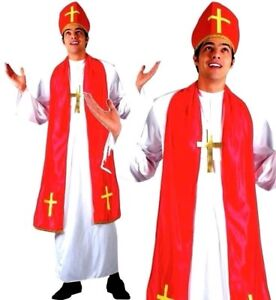 Adult Mens Bishop Holy Cardinal Pope Priest Religous Fancy Dress Costume Outfit