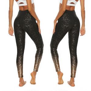 Women-Sequin-Splice-High-Waist-Leggings-Elastic-Sport-Yoga-Pants-Skinny-Trousers