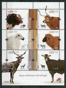 Portugal-2018-MNH-Portuguese-Breeds-Sheep-Cows-Goats-6v-M-S-Farm-Animals-Stamps
