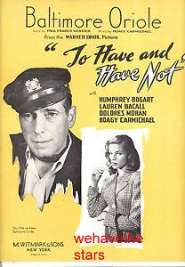 """Musikinstrumente WunderschöNen To Have & Nicht Notenblatt """" Baltimore Pirole """" Humphrey Bogart Lauren Bacall Quell Sommer Durst Antiquarische Noten/songbooks"""