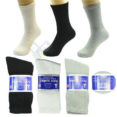 6 Pairs Diabetic Crew Circulatory Socks Health Women Cotton 9 10-15 low BLACK