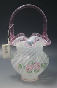 FENTON-ART-GLASS-BILL-FENTON-BASKET-FRENCH-OPALESCENT-SWIRL-ROSES-SIGNED