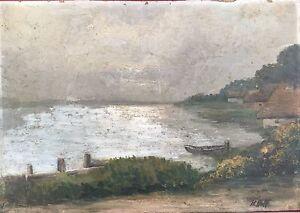 Old-Katen-on-the-Shore-Nordeutscher-Space-Monogram-Um-1920-Oil-Painting