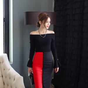 Caricamento dell immagine in corso Elegante-vestito-abito-corto-tubino-nero- rosso-maniche- 616e9a88679