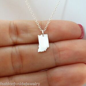 Indiana-State-Charm-Necklace-925-Sterling-Silver-US-State-Charms-IN-NEW