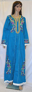 Egyptian-Cotton-Embroidered-Arabesque-Dress-Long-Abaya-Jilbab-Flowers-Tatreez