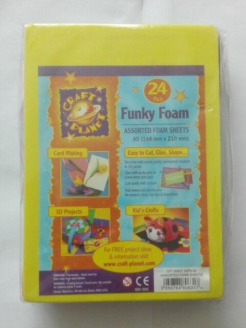 24 X A5 Funky Foam Sheets Assorted Coloured Kids Craft Planet Art