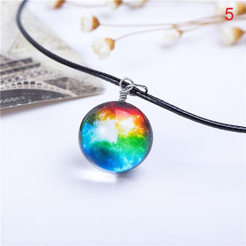 Dreamy Crystal Ball Star Short Glass Galaxy Pattern Pendant Necklace JewelrETYVX