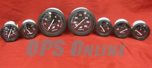 Speedo trim,temp,w//p,volt,fuel 6K Tach Mercury Outboard Analog Gauge Set Blk