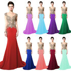 Mermaid Beads Women Long Prom Dress Evening Bridesmaid Party Formal Pageant Gown