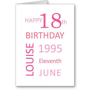 Image Is Loading Unique Typographic Personalised 18th Birthday Date Card Gift
