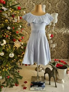 TED BARKER Kleid hellblau / blau Drehkleid in Lochmuster ...
