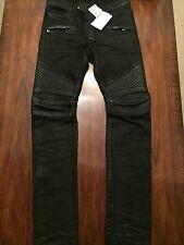 BALMAIN Men's Leather Knee Biker Jeans Size 28