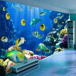 3d Underwater Sea Fish Ocean Coral Wall Mural Wallpaper Living Room Bedroom Ebay