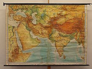 Details zu Wandkarte Indien Arabien Türkei 195x145cm 1960 Southwest Asia  map Middle East
