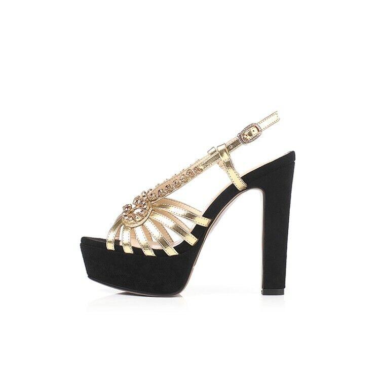 donna High Block Heel scarpe Platform Buckle Strap Slingbacks Sandals Rhinestone