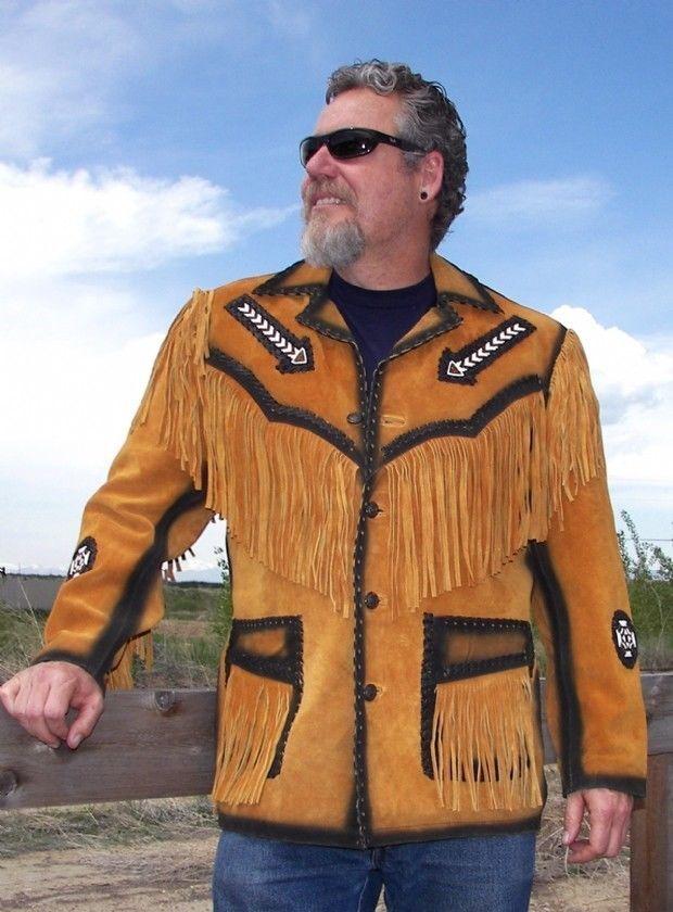 Hombres Cuero de Gamuza Abrigo Abrigo Gamuza Vendimia el Cowboy Flecos y Rosario Chaqueta 752596