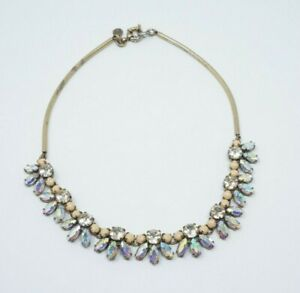 J-Crew-Womens-Statement-Necklace-Gold-Tone-Clear-Crystal-wedding-chocker