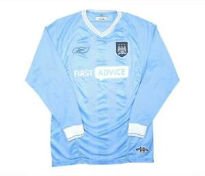 Manchester-City-2003-04-Authentic-Home-Camicia-L-S-eccellente-Y-Soccer-Jersey