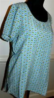 J Jill Top Mineral Blue Button Geo Woven Print Tee Petite Size Small 6p-8p